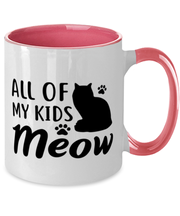 All Of My Kids Meow 11oz Pink Two Tone Coffee Mug, Gift For Cat Moms, Novelty Coffee Mugs Gift For Mom, Daughter, Sister, Friend, Mother's Day, Birthday Present Ideas For Cat Moms