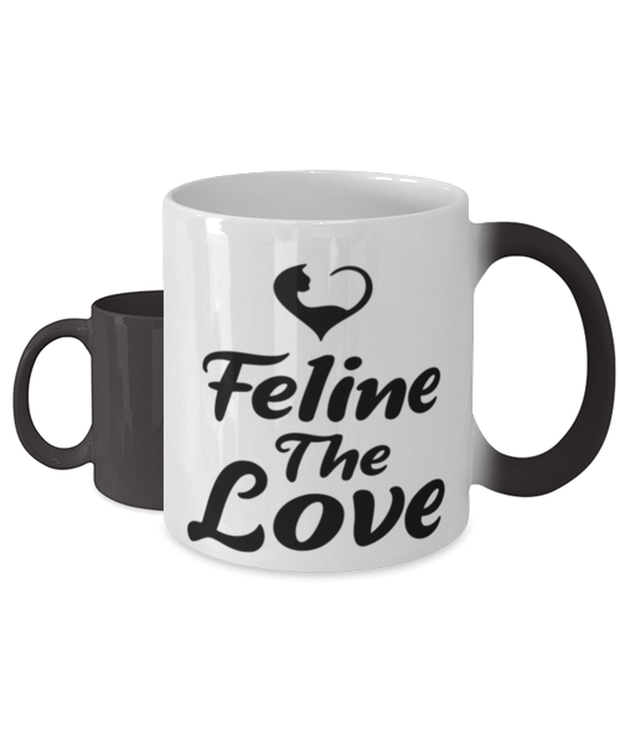 Feline The Love Color Changing Coffee Mug, Gift For Cat Lovers, Novelty Coffee Mugs Gift For Mom, Daughter, Sister, Friend, Birthday, Just Because Present Ideas For Cat Lovers