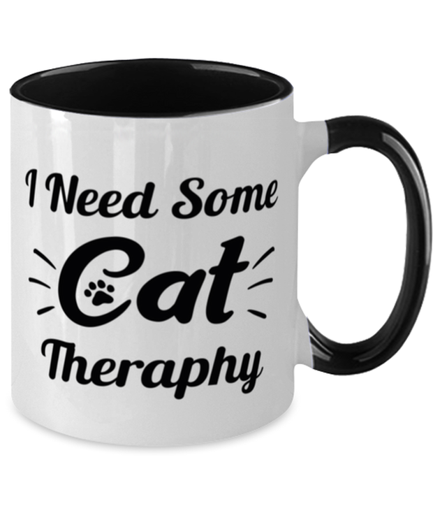 Need Cat Therapy 11oz Black Two Tone Coffee Mug, Gift For Cat Lovers, Novelty Coffee Mugs Gift For Mom, Daughter, Sister, Friend, Birthday, Just Because Present Ideas For Cat Lovers