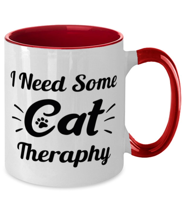 Need Cat Therapy 11oz Red Two Tone Coffee Mug, Gift For Cat Lovers, Novelty Coffee Mugs Gift For Mom, Daughter, Sister, Friend, Birthday, Just Because Present Ideas For Cat Lovers