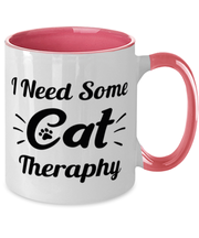 Need Cat Therapy 11oz Pink Two Tone Coffee Mug, Gift For Cat Lovers, Novelty Coffee Mugs Gift For Mom, Daughter, Sister, Friend, Birthday, Just Because Present Ideas For Cat Lovers