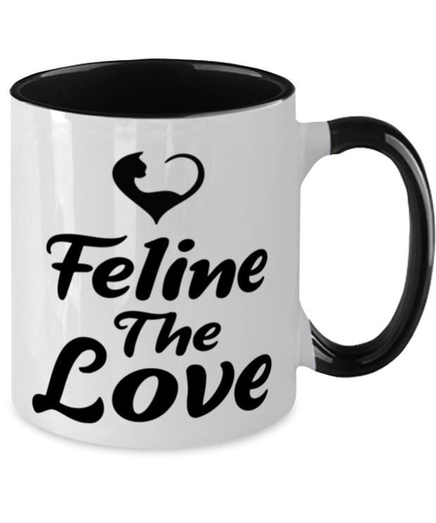 Feline The Love 11oz Black Two Tone Coffee Mug, Gift For Cat Lovers, Novelty Coffee Mugs Gift For Mom, Daughter, Sister, Friend, Birthday, Just Because Present Ideas For Cat Lovers