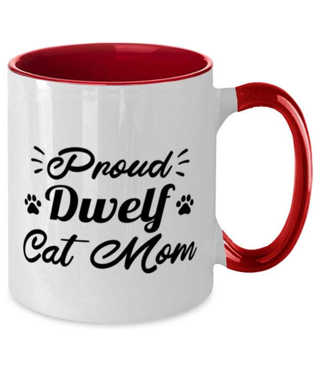 Proud Dwelf Cat Mom 11oz Red Two Tone Coffee Mug, Gift For Dwelf Cat Moms, Novelty Coffee Mugs Gift For Her, Birthday Present Ideas For Dwelf Cat Moms