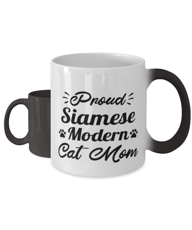 Proud Siamese Modern Cat Mom Color Changing Coffee Mug, Gift For Siamese Modern Cat Moms, Novelty Coffee Mugs Gift For Her, Birthday Present Ideas For Siamese Modern Cat Moms