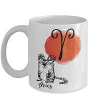 Aries Astrology Cat 11 oz White Coffee Mug, Gift For Aries Cat Lovers, Novelty Coffee Mugs Gift For Mom, Sister, Daughter, Aunt, Birthday Present Ideas For Aries Cat Lovers