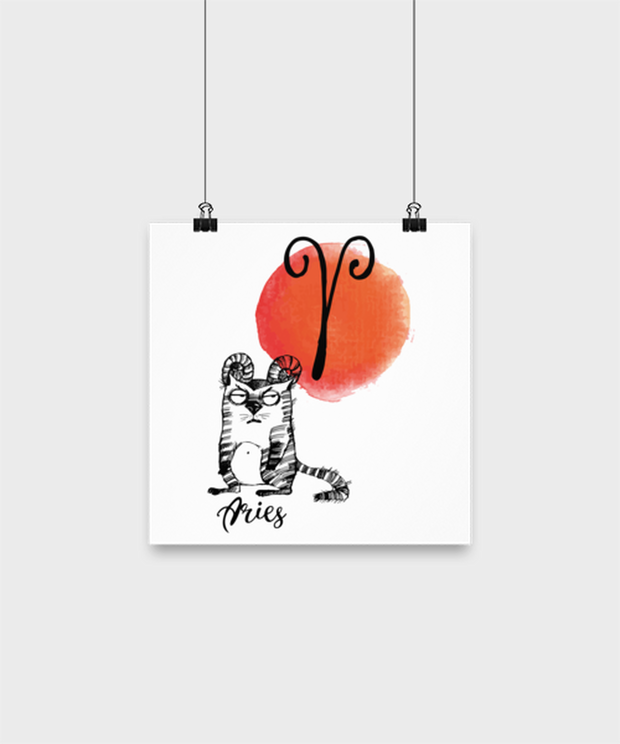 Aries Astrology Cat High Gloss Poster 10 in x 10 in , Gift For Aries Cat Lovers, Posters & Prints Gift For Mom, Sister, Daughter, Aunt, Birthday Present Ideas For Aries Cat Lovers