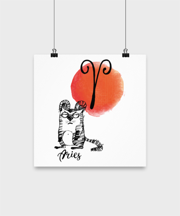 Aries Astrology Cat High Gloss Poster 12 in x 12 in, Gift For Aries Cat Lovers, Posters & Prints Gift For Mom, Sister, Daughter, Aunt, Birthday Present Ideas For Aries Cat Lovers