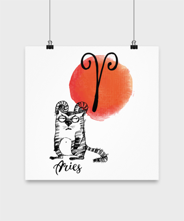 Aries Astrology Cat High Gloss Poster 14 in x 14 in, Gift For Aries Cat Lovers, Posters & Prints Gift For Mom, Sister, Daughter, Aunt, Birthday Present Ideas For Aries Cat Lovers