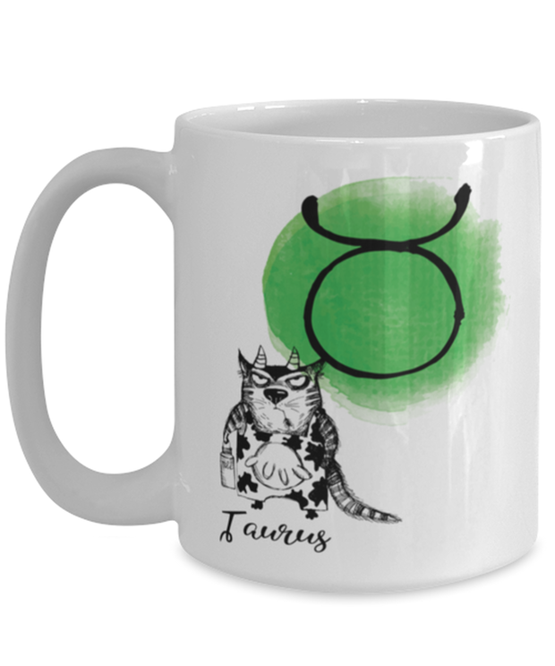 Taurus Astrology Cat 15 oz White Coffee Mug, Gift For Taurus Cat Lovers, Novelty Coffee Mugs Gift For Mom, Sister, Daughter, Aunt, Birthday Present Ideas For Taurus Cat Lovers