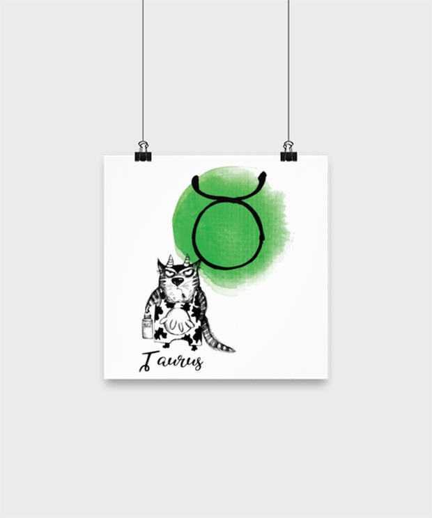 Taurus Astrology Cat High Gloss Poster 10 in x 10 in , Gift For Taurus Cat Lovers, Posters & Prints Gift For Mom, Sister, Daughter, Aunt, Birthday Present Ideas For Taurus Cat Lovers