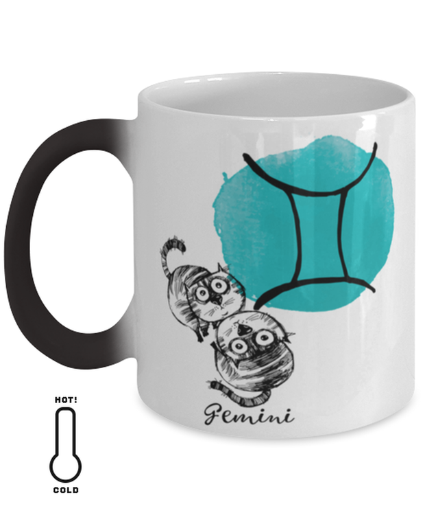 Gemini Astrology Cat Color Changing Coffee Mug, Gift For Gemini Cat Lovers, Novelty Coffee Mugs Gift For Mom, Sister, Daughter, Aunt, Birthday Present Ideas For Gemini Cat Lovers