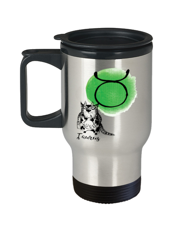 Taurus Astrology Cat 14 oz Stainless Steel Travel Coffee Mug w/ Lid, Gift For Taurus Cat Lovers, Novelty Coffee Mugs Gift For Mom, Sister, Daughter, Aunt, Birthday Present Ideas For Taurus Cat Lovers