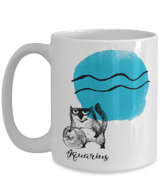 Aquarius Astrology Cat 15 oz White Coffee Mug, Gift For Aquarius Cat Lovers, Novelty Coffee Mugs Gift For Mom, Sister, Birthday Present Ideas For Aquarius Cat Lovers