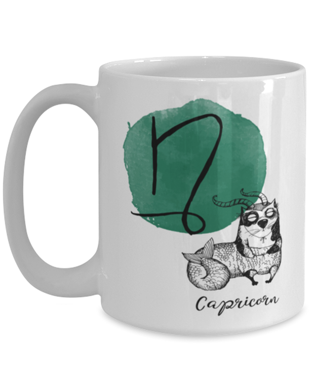 Capricorn Astrology Cat 15 oz White Coffee Mug, Gift For Capricorn Cat Lovers, Novelty Coffee Mugs Gift For Mom, Sister, Birthday Present Ideas For Capricorn Cat Lovers