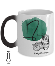 Capricorn Astrology Cat Color Changing Coffee Mug, Gift For Capricorn Cat Lovers, Novelty Coffee Mugs Gift For Mom, Sister, Birthday Present Ideas For Capricorn Cat Lovers