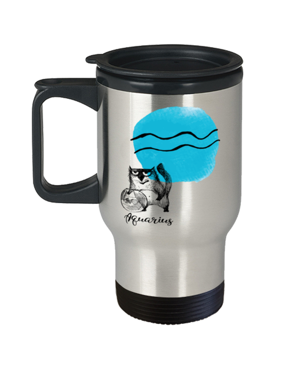 Aquarius Astrology Cat 14 oz Stainless Steel Travel Coffee Mug w/ Lid, Gift For Aquarius Cat Lovers, Novelty Coffee Mugs Gift For Mom, Sister, Birthday Present Ideas For Aquarius Cat Lovers