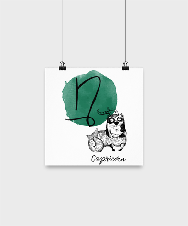 Capricorn Astrology Cat High Gloss Poster 10 in x 10 in , Gift For Capricorn Cat Lovers, Posters & Prints Gift For Mom, Sister, Birthday Present Ideas For Capricorn Cat Lovers
