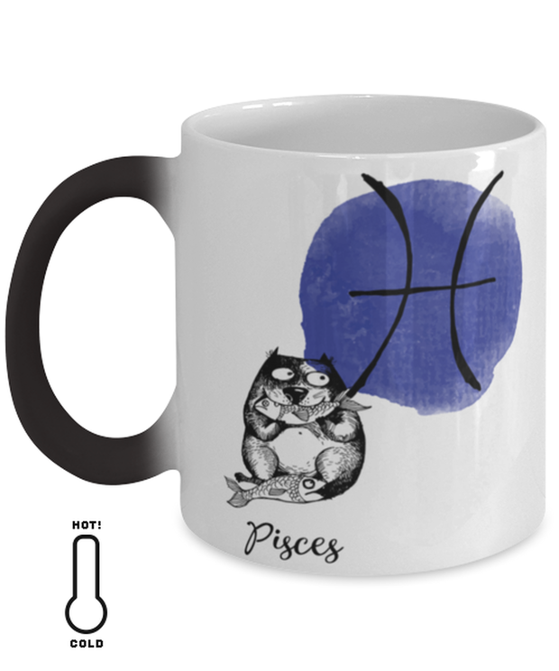 Pisces Astrology Cat Color Changing Coffee Mug, Gift For Pisces Cat Lovers, Novelty Coffee Mugs Gift For Mom, Sister, Daughter, Aunt, Birthday Present Ideas For Pisces Cat Lovers