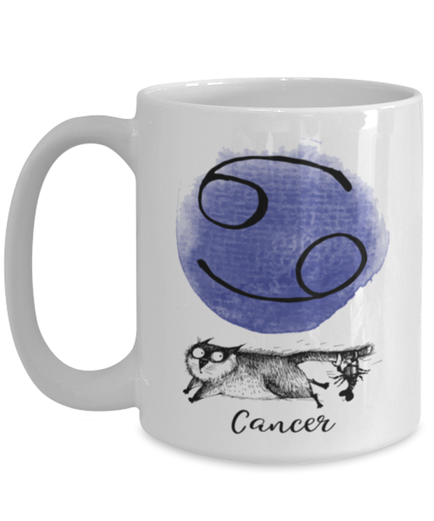 Cancer Astrology Cat 15 oz White Coffee Mug, Gift For Cancer Cat Lovers, Novelty Coffee Mugs Gift For Mom, Sister, Daughter, Aunt, Birthday Present Ideas For Cancer Cat Lovers