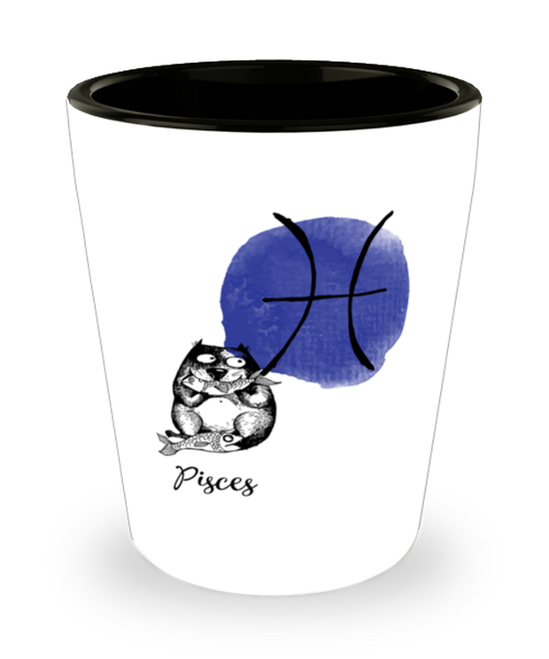 Pisces Astrology Cat 1.5 oz Ceramic Shot Glass, Gift For Pisces Cat Lovers, Shot Glasses Gift For Mom, Sister, Daughter, Aunt, Birthday Present Ideas For Pisces Cat Lovers