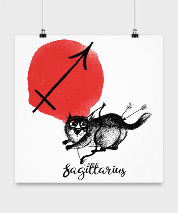 Sagittarius Astrology Cat High Gloss Poster 16 in x 16 in, Gift For Sagittarius Cat Lovers, Posters & Prints Gift For Mom, Sister, Birthday Present Ideas For Sagittarius Cat Lovers