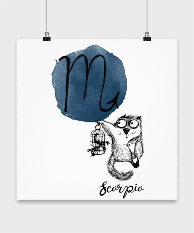 Scorpio Astrology Cat High Gloss Poster 16 in x 16 in, Gift For Scorpio Cat Lovers, Posters & Prints Gift For Mom, Sister, Daughter, Birthday Present Ideas For Scorpio Cat Lovers