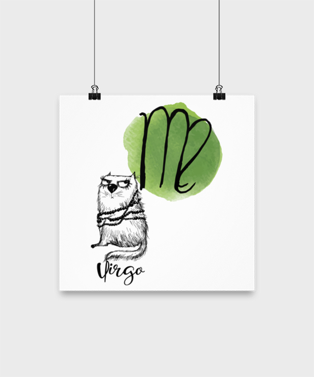 Virgo Astrology Cat High Gloss Poster 12 in x 12 in, Gift For Virgo Cat Lovers, Posters & Prints Gift For Mom, Sister, Daughter, Aunt, Birthday Present Ideas For Virgo Cat Lovers