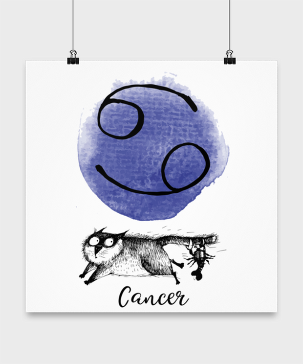 Cancer Astrology Cat High Gloss Poster 16 in x 16 in, Gift For Cancer Cat Lovers, Posters & Prints Gift For Mom, Sister, Daughter, Aunt, Birthday Present Ideas For Cancer Cat Lovers