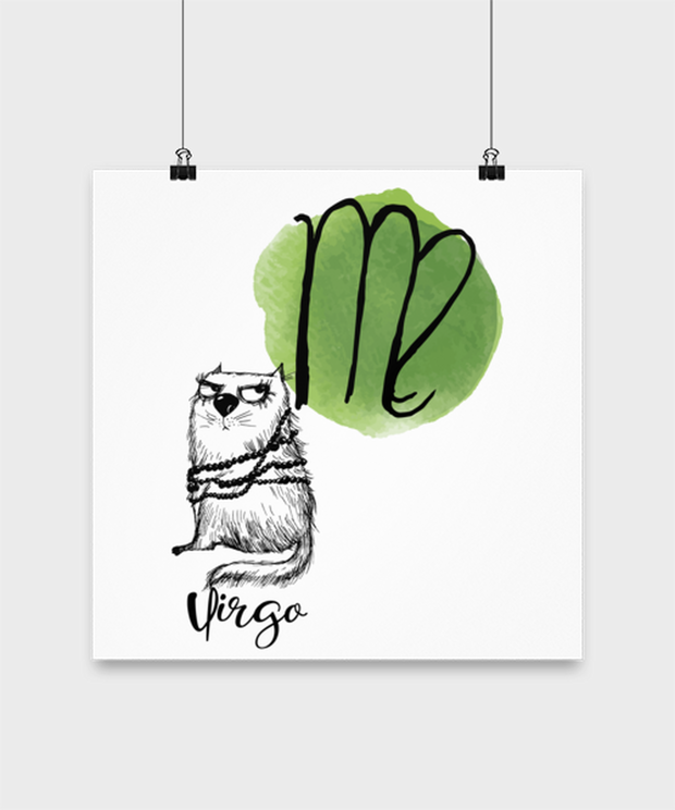 Virgo Astrology Cat High Gloss Poster 14 in x 14 in, Gift For Virgo Cat Lovers, Posters & Prints Gift For Mom, Sister, Daughter, Aunt, Birthday Present Ideas For Virgo Cat Lovers