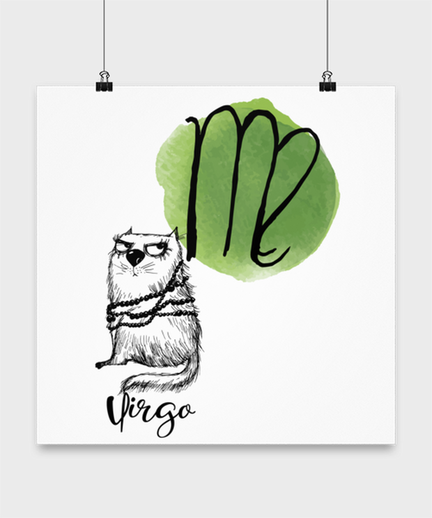 Virgo Astrology Cat High Gloss Poster 16 in x 16 in, Gift For Virgo Cat Lovers, Posters & Prints Gift For Mom, Sister, Daughter, Aunt, Birthday Present Ideas For Virgo Cat Lovers