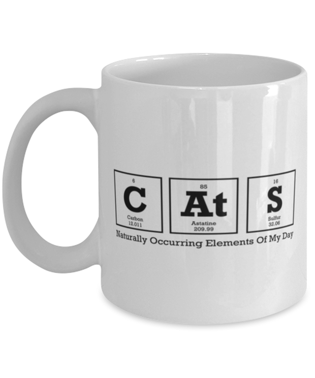 Cats Naturally Occuring Elements 11 oz White Coffee Mug, Gift For Cat And Chemistry Lovers, Novelty Coffee Mugs Gift For Her, Birthday Present Ideas For Cat And Chemistry Lovers