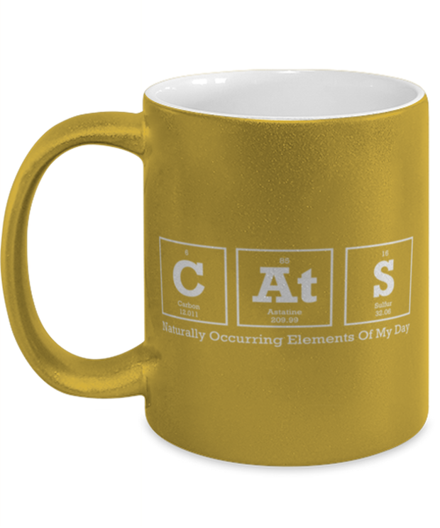 Cats Naturally Occuring Elements 11 oz Metallic Gold Mug, Gift For Cat And Chemistry Lovers, Novelty Coffee Mugs Gift For Her, Birthday Present Ideas For Cat And Chemistry Lovers