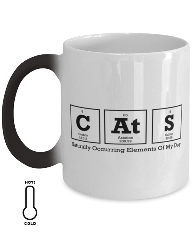 Cats Naturally Occuring Elements Color Changing Coffee Mug, Gift For Cat And Chemistry Lovers, Novelty Coffee Mugs Gift For Her, Birthday Present Ideas For Cat And Chemistry Lovers