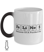 Felines Elements Of A Purrfect Day Color Changing Coffee Mug, Gift For Cat And Chemistry Lovers, Novelty Coffee Mugs Gift For Her, Birthday Present Ideas For Cat And Chemistry Lovers