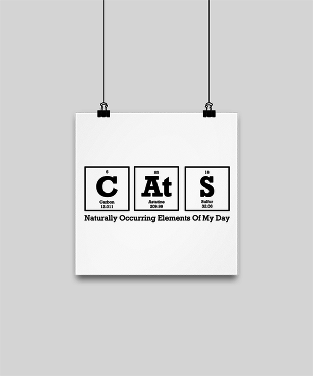 Cats Naturally Occuring Elements High Gloss Poster 10 in x 10 in , Gift For Cat And Chemistry Lovers, Posters & Prints Gift For Her, Birthday Present Ideas For Cat And Chemistry Lovers