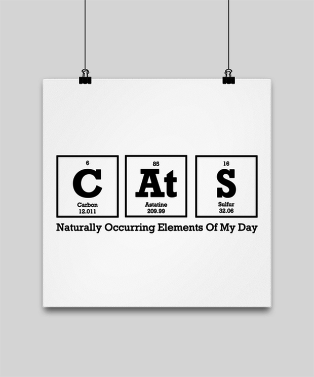 Cats Naturally Occuring Elements High Gloss Poster 14 in x 14 in, Gift For Cat And Chemistry Lovers, Posters & Prints Gift For Her, Birthday Present Ideas For Cat And Chemistry Lovers