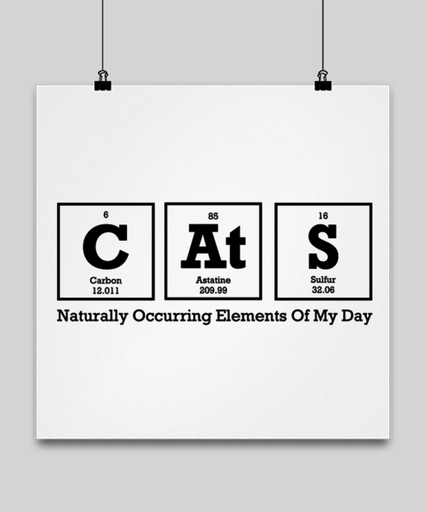 Cats Naturally Occuring Elements High Gloss Poster 16 in x 16 in, Gift For Cat And Chemistry Lovers, Posters & Prints Gift For Her, Birthday Present Ideas For Cat And Chemistry Lovers