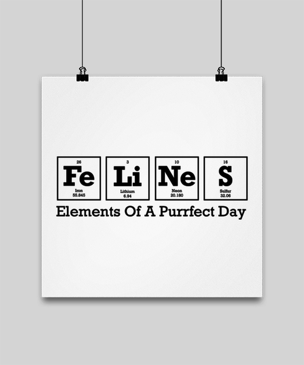 Felines Elements Of A Purrfect Day High Gloss Poster 14 in x 14 in, Gift For Cat And Chemistry Lovers, Posters & Prints Gift For Her, Birthday Present Ideas For Cat And Chemistry Lovers
