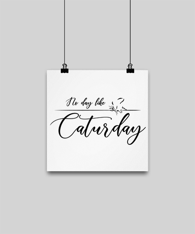 No Day Like Caturday High Gloss Poster 10 in x 10 in , Gift For Cat And Weekend Lovers, Posters & Prints Gift For Her, Birthday, Just Because Present Ideas For Cat And Weekend Lovers