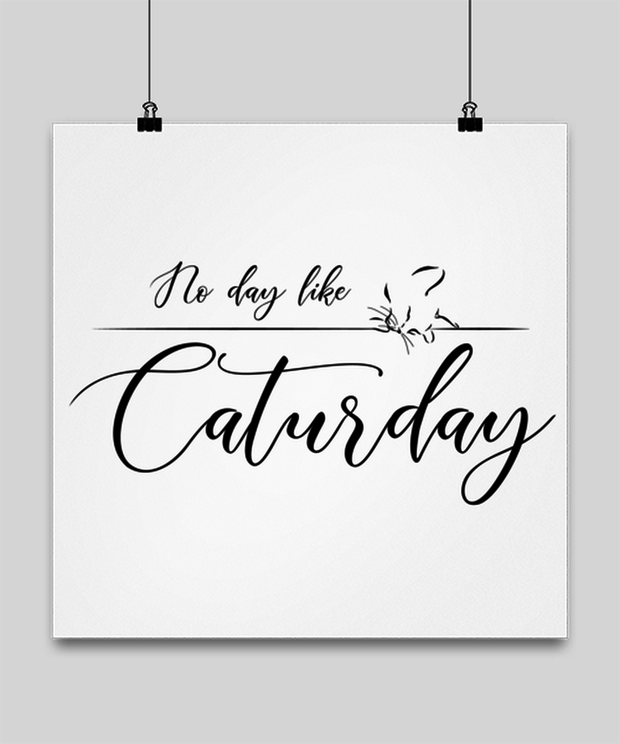 No Day Like Caturday High Gloss Poster 16 in x 16 in, Gift For Cat And Weekend Lovers, Posters & Prints Gift For Her, Birthday, Just Because Present Ideas For Cat And Weekend Lovers
