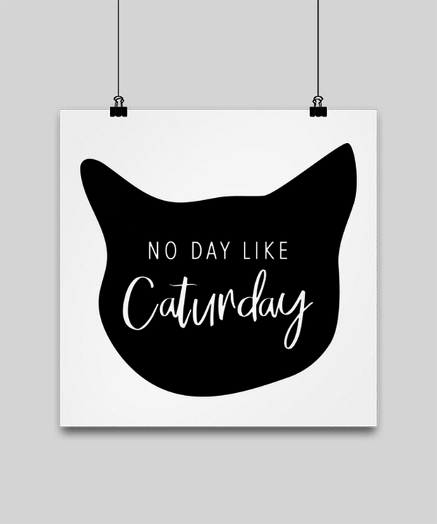 No Day Like Caturday Cat Head High Gloss Poster 14 in x 14 in, Gift For Cat And Weekend Lovers, Posters & Prints Gift For Her, Birthday, Just Because Present Ideas For Cat And Weekend Lovers