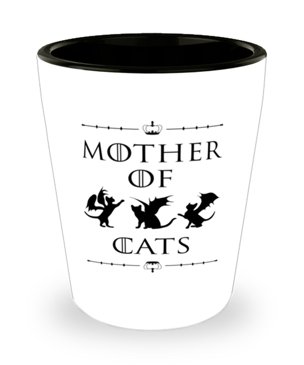 Mother Of Dragon Cats 1.5 oz Ceramic Shot Glass, Gift For Cat And Game Of Thrones Lovers, Shot Glasses Gift For Her, Mother's Day Present Ideas For Cat And Game Of Thrones Lovers
