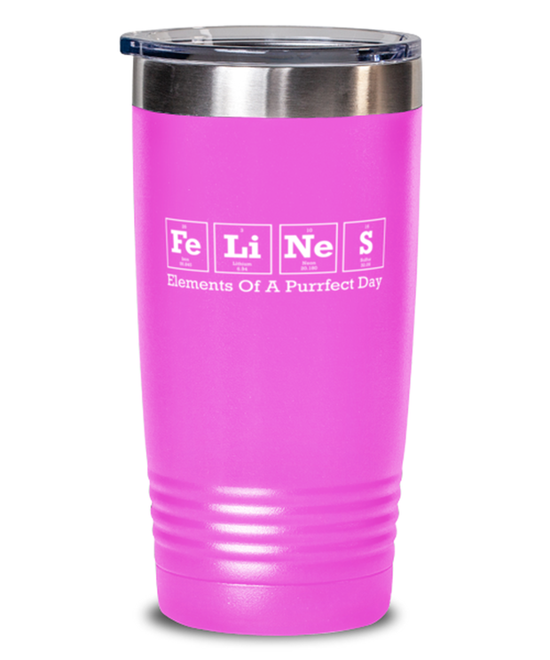 Felines Elements Of A Purrfect Day 20 oz Pink Drink Tumbler w/ Lid, Gift For Cat And Chemistry Lovers, Tumblers & Water Glasses Gift For Her, Birthday Present Ideas For Cat And Chemistry Lovers
