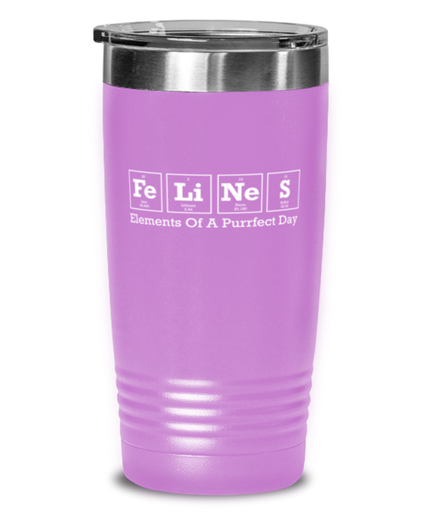 Felines Elements Of A Purrfect Day 20 oz Light Purple Drink Tumbler, Gift For Cat And Chemistry Lovers, Tumblers & Water Glasses Gift For Her, Birthday Present Ideas For Cat And Chemistry Lovers