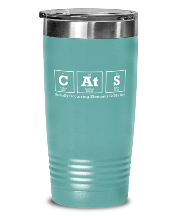 Cats Naturally Occuring Elements 20 oz Teal Drink Tumbler w/ Lid, Gift For Cat And Chemistry Lovers, Tumblers & Water Glasses Gift For Her, Birthday Present Ideas For Cat And Chemistry Lovers