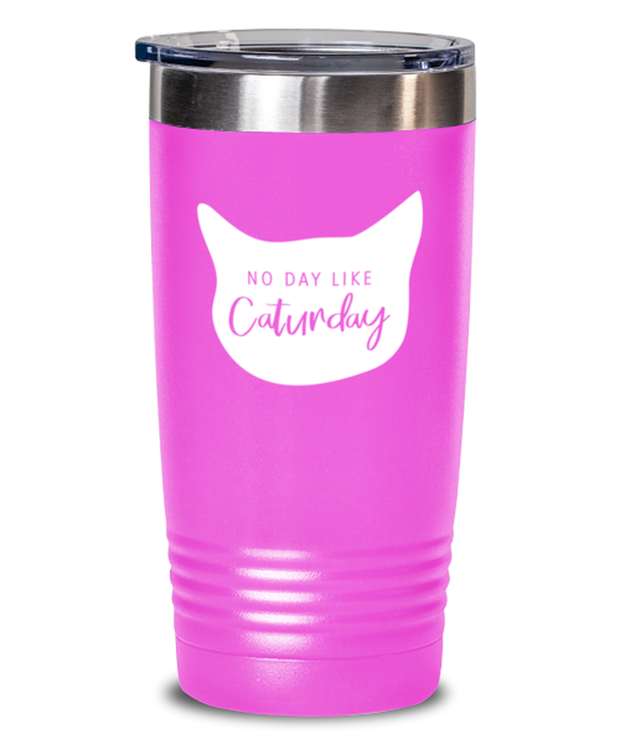 No Day Like Caturday Cat Head 20 oz Pink Drink Tumbler w/ Lid, Gift For Cat And Weekend Lovers, Tumblers & Water Glasses Gift For Her, Birthday, Just Because Present Ideas For Cat And Weekend Lovers