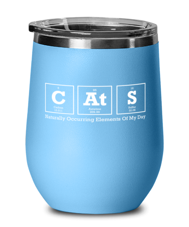 Cats Naturally Occuring Elements Light Blue Insulated Wine Tumbler w/ Lid, Gift For Cat And Chemistry Lovers, Wine Glasses Gift For Her, Birthday Present Ideas For Cat And Chemistry Lovers