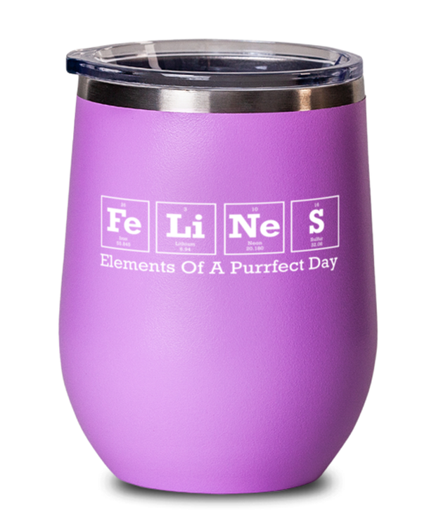 Felines Elements Of A Purrfect Day Pink Insulated Wine Tumbler w/ Lid, Gift For Cat And Chemistry Lovers, Wine Glasses Gift For Her, Birthday Present Ideas For Cat And Chemistry Lovers