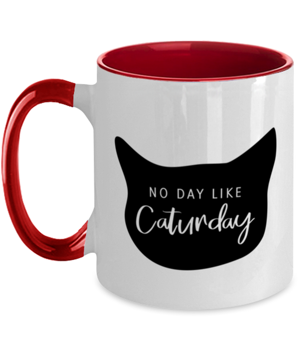 No Day Like Caturday Cat Head 11oz Red Two Tone Coffee Mug, Gift For Cat And Weekend Lovers, Novelty Coffee Mugs Gift For Her, Birthday, Just Because Present Ideas For Cat And Weekend Lovers