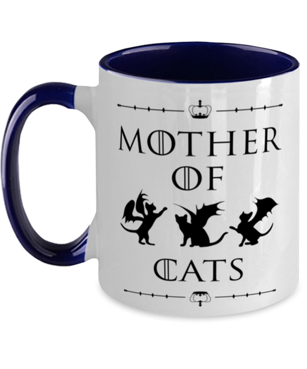 Mother Of Dragon Cats 11oz Navy Two Tone  Coffee Mug, Gift For Cat And Game Of Thrones Lovers, Novelty Coffee Mugs Gift For Her, Mother's Day Present Ideas For Cat And Game Of Thrones Lovers